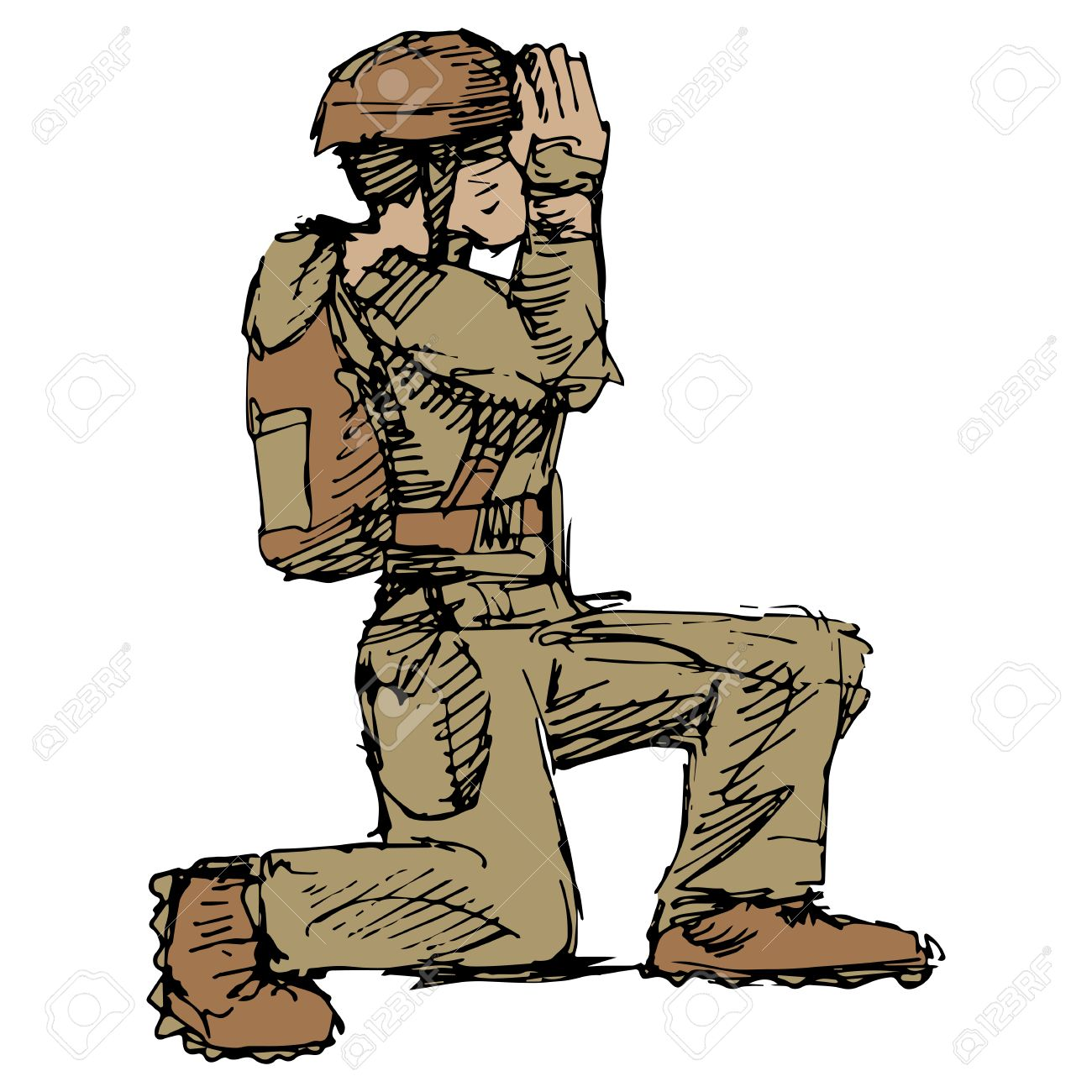 1300x1300 An Image Of A Kneeling Soldier Saluting. Royalty Free Cliparts