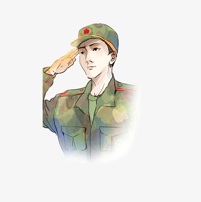 650x651 Chinese Soldiers Salute The Army, Junzi, Cartoon Hand Drawing Png