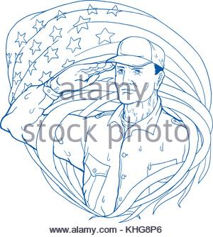 300x334 Drawing Of A Soldier Saluting Stock Photo 31514851