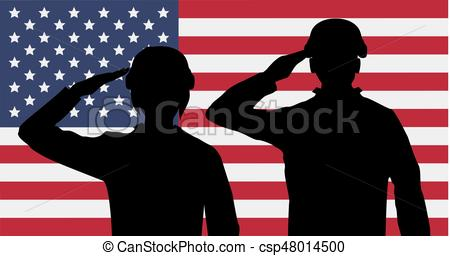 450x256 Silhouette American Soldiers Salute On Usa Flag Vector Clipart