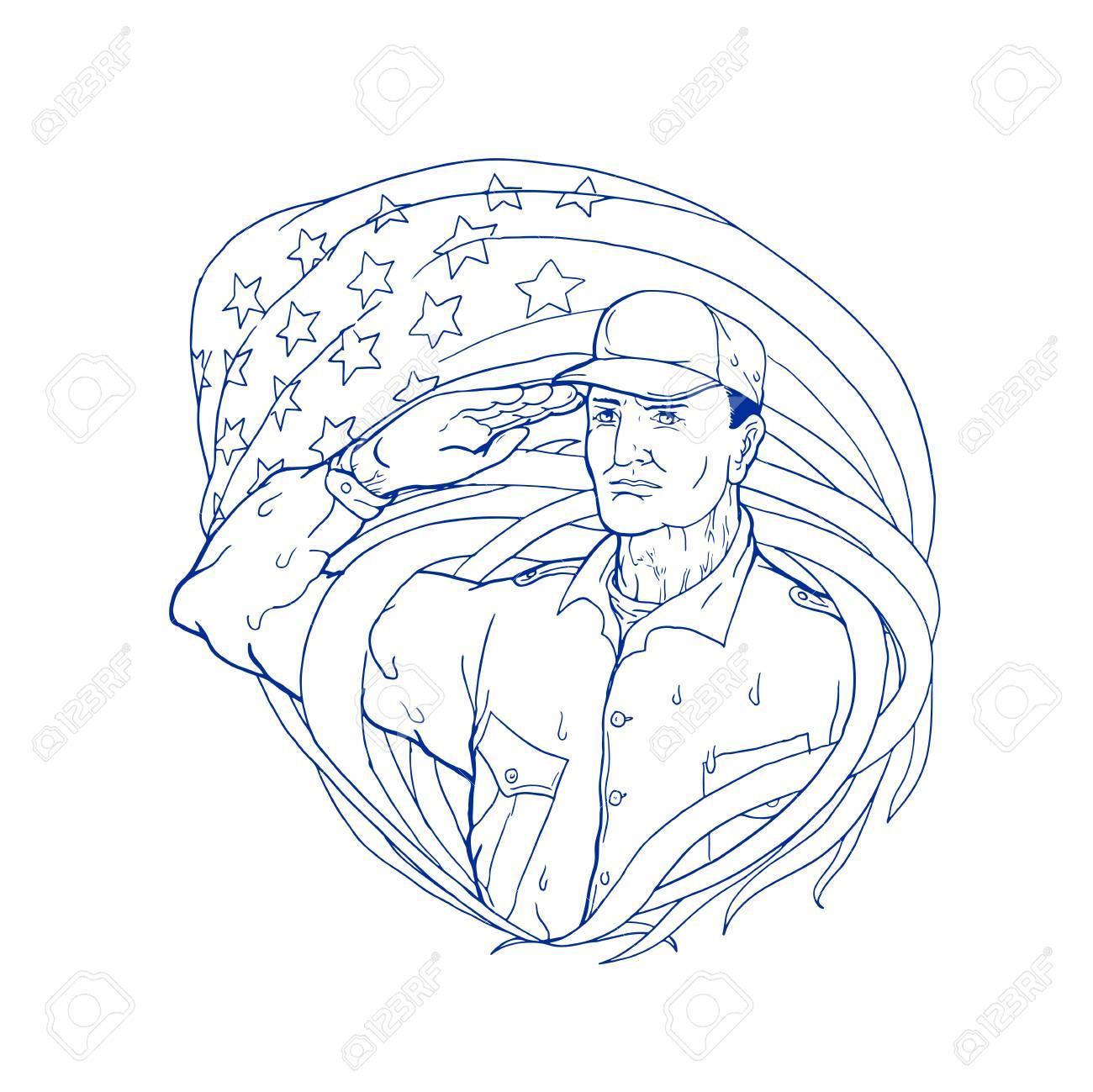 1300x1299 Ukiyoe Style Illustration Of An American Soldier Saluting Usa