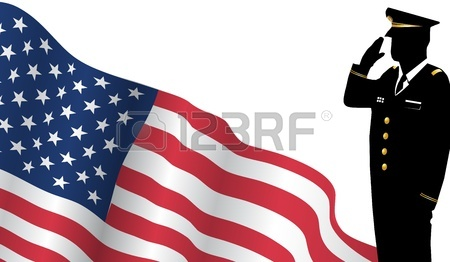 450x262 Vector Drawing Of A Group Of Soldiers Under American Flag Royalty