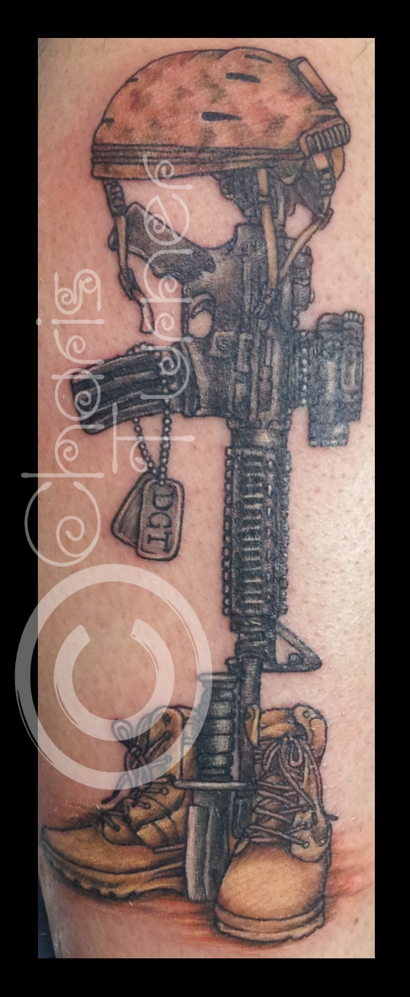 595x1444 Soldier's Cross Tattoo By ~metacharis On My Tattoo