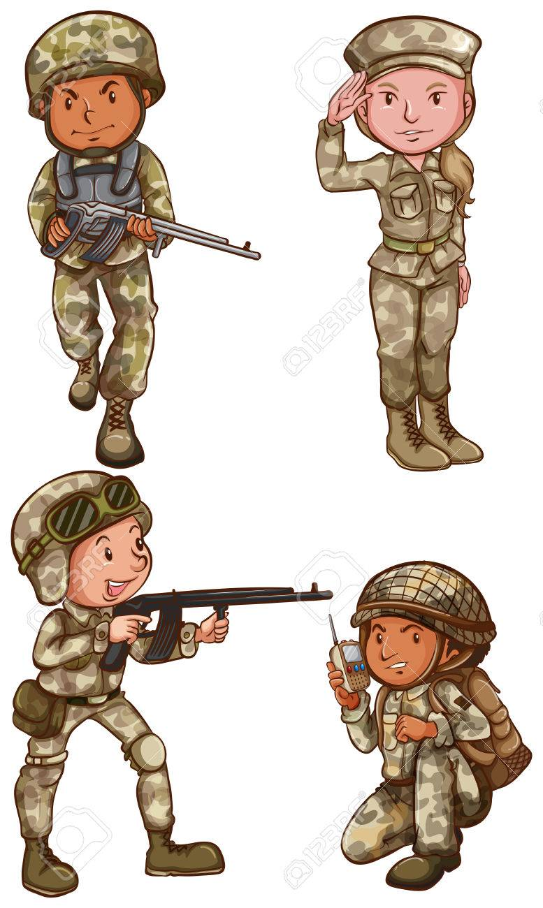 777x1300 A Simple Drawing Of The Four Brave Soldiers On A White Background