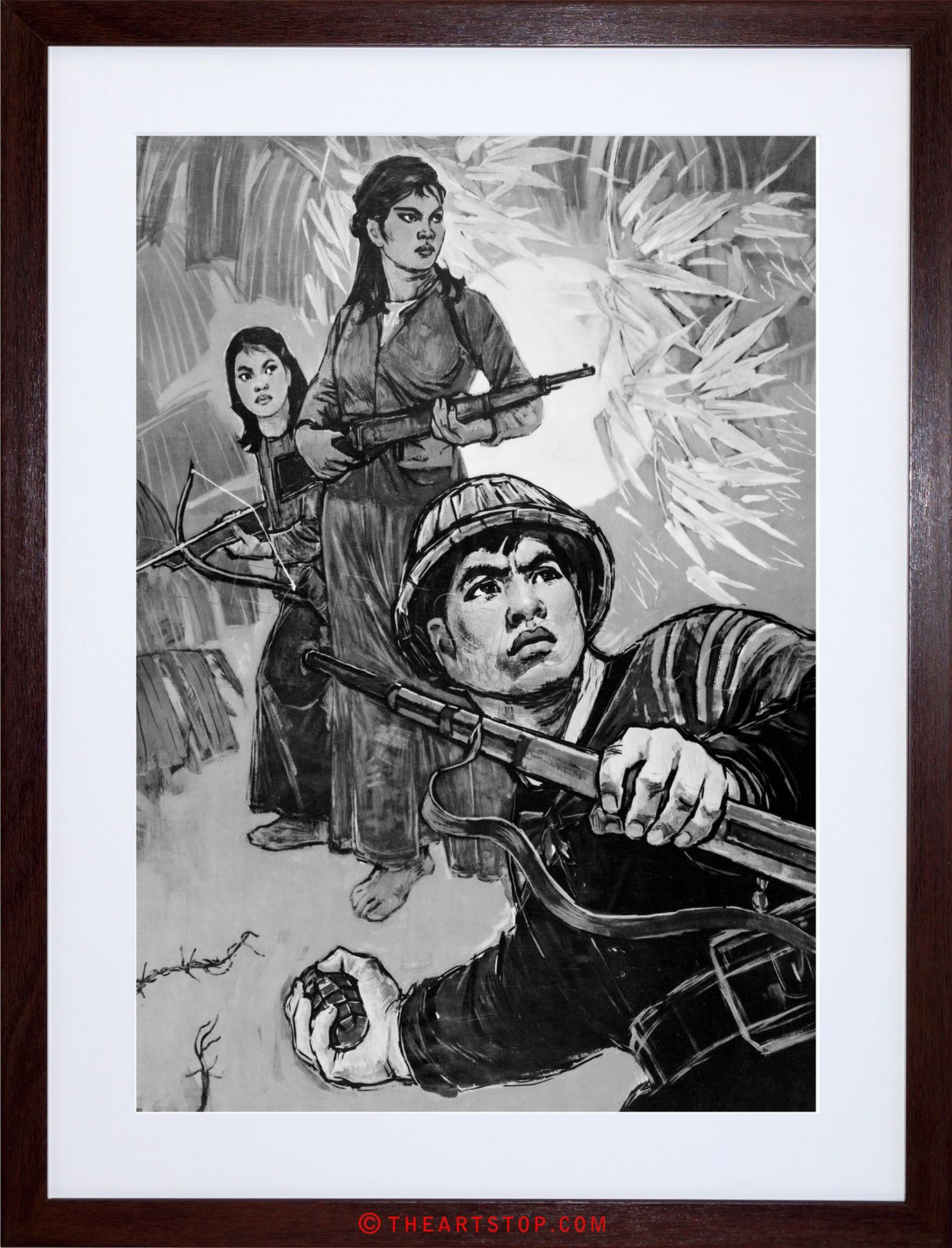 1374x1800 Ad War Vietnam Jungle Soldiers Drawing Grenade Gun Framed Print