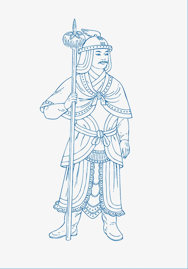 650x927 Freehand Line Drawing Soldiers, Chinese Style, Blue And White