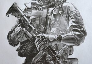 300x210 Pencil Drawing Of Soldier Drawn Soldiers Army Soldier