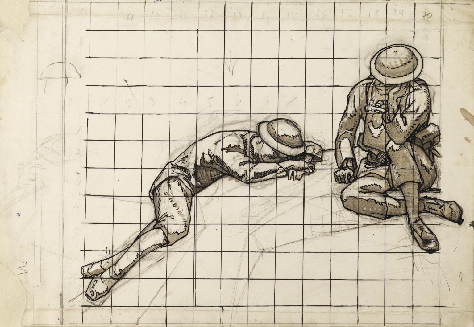 1536x1061 Squared Up Drawings Of Soldiers', David Jones, 1920 1 Tate