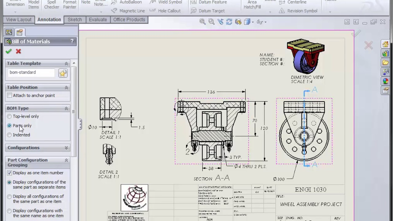 Solidworks engineering drawing at getdrawings free for 1280x720 solidworks assembly drawing part ii ccuart Image collections