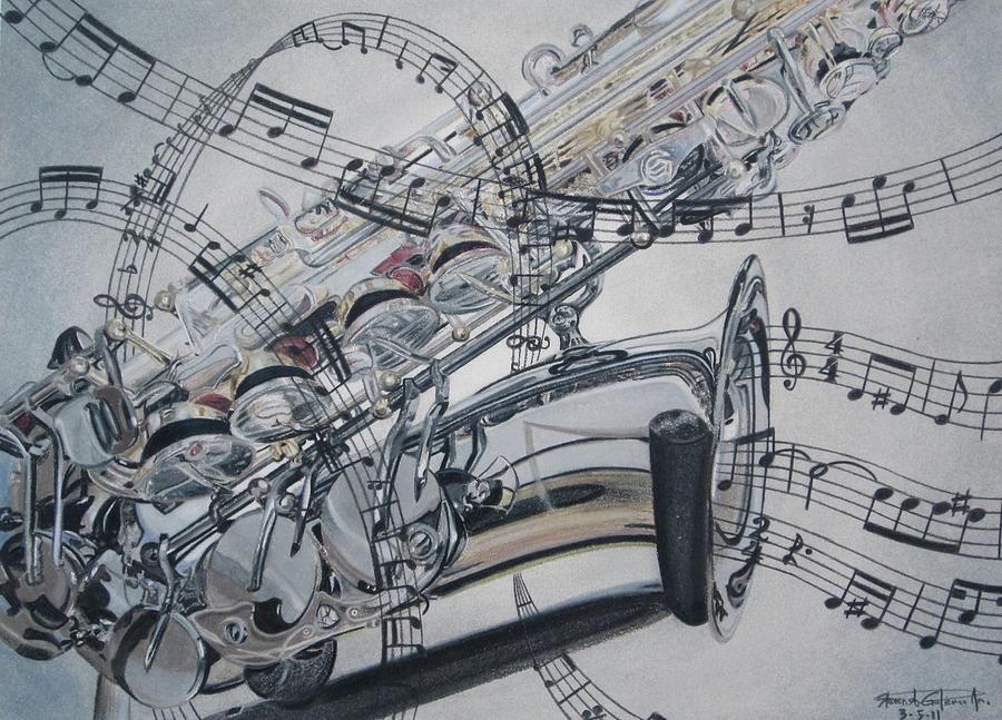 900x647 The Jazz Song Drawing By Steven Gutierrez