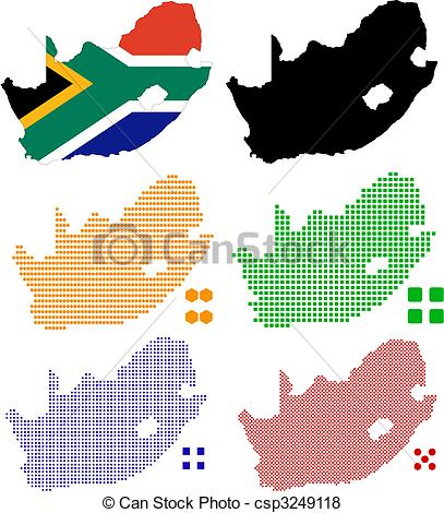 407x470 Flag Contour And Pixel Outline Of South Africa Vector