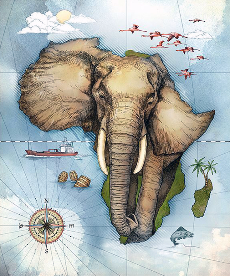 735x882 Map Of Africa By Studio Muti (South Africa) Working Together
