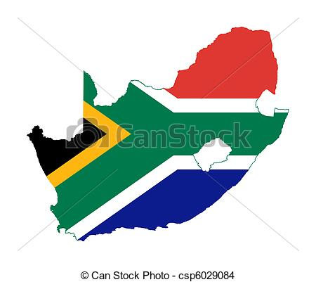 450x401 South Africa Flag On Country Map. Illustration Of South Drawing