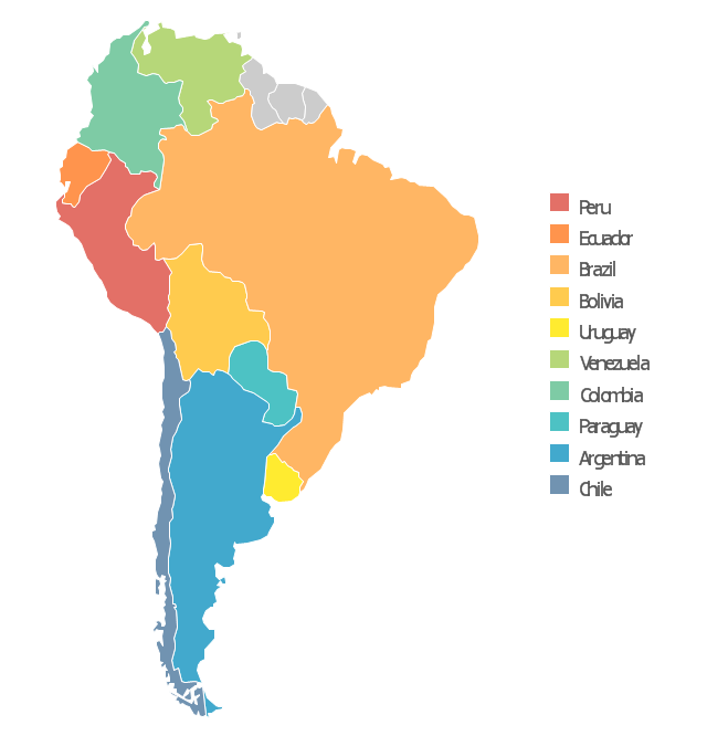 south america color map - Selo.l-ink.co