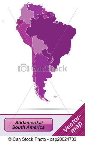 283x470 Map Of South America With Borders In Violet Vectors