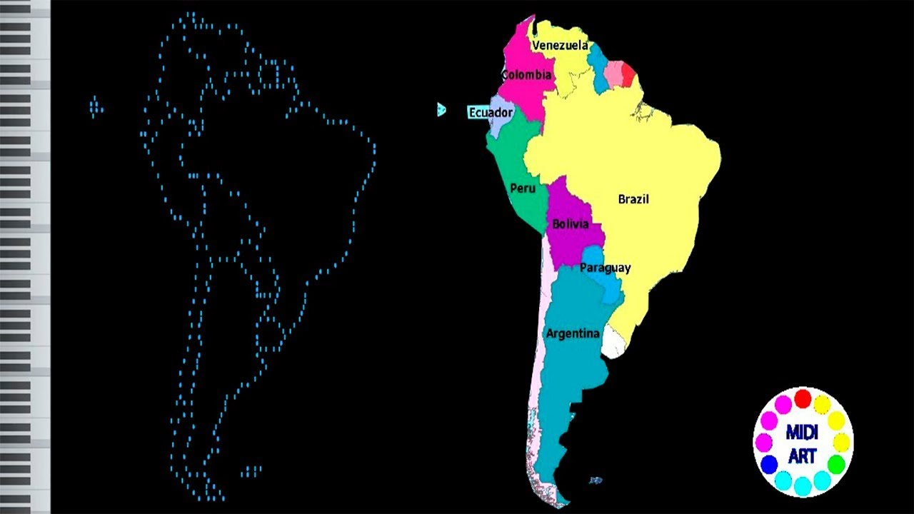 1280x720 Musical Map Of South America Midi Art [Drawing]