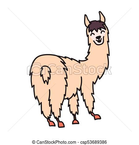 450x470 Vector Illustration Of Cute Character South America Lama