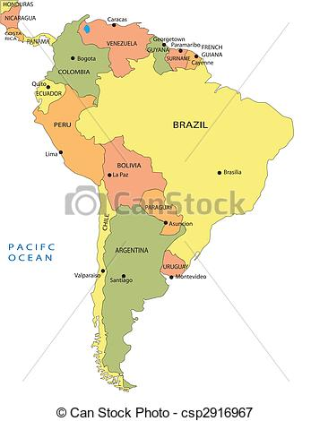 347x470 Political Map Of South America Vectors Illustration