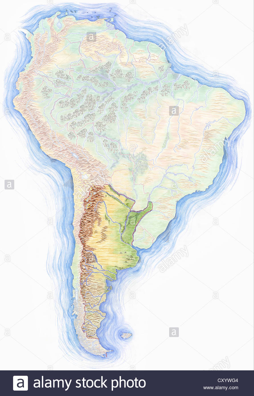 892x1390 South America Map Drawing