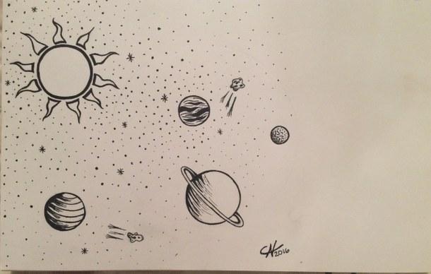 610x388 Aliens, Art, Drawing, Galaxy, Space