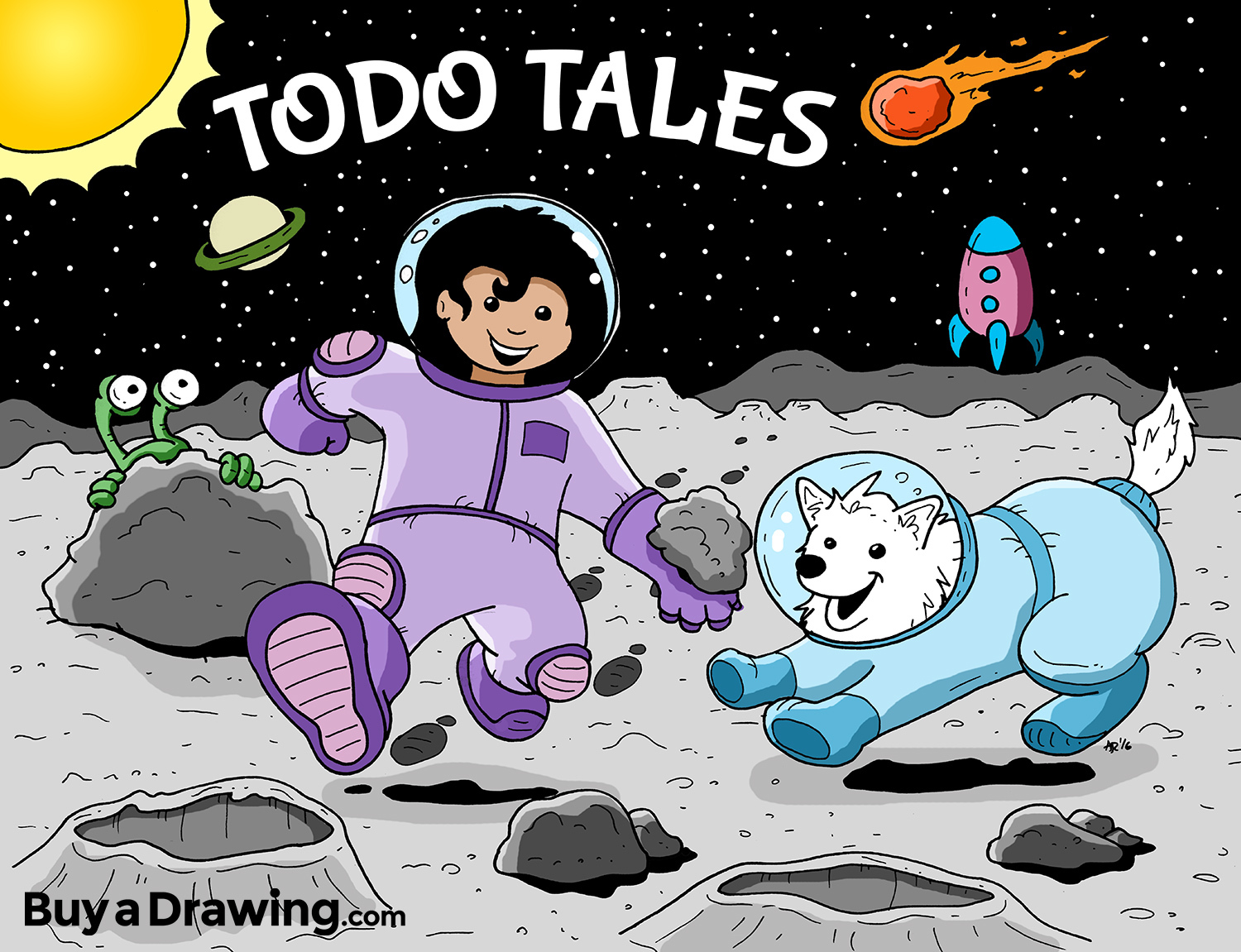 1500x1151 A Cartoon Drawing Of A Girl And Her Dog On An Adventure To