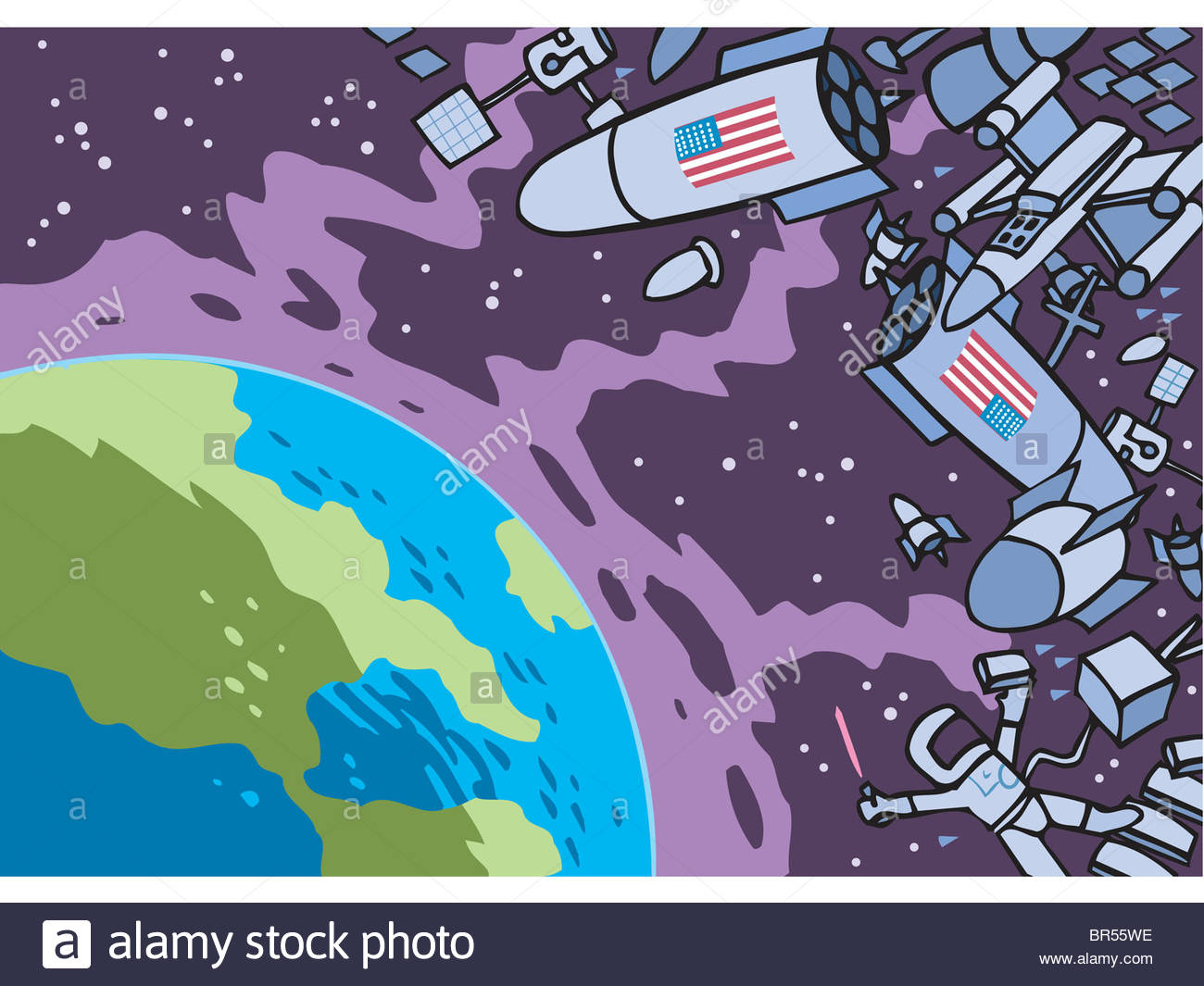 1300x1065 A Cartoon Drawing Of The Space And The Planet Earth Stock Photo