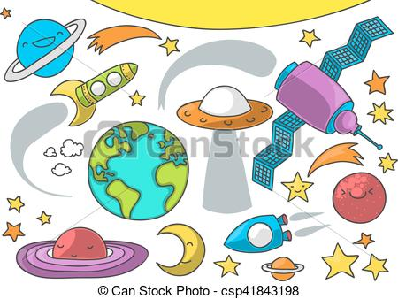 450x338 Cute Outer Space Cartoon. Cute Illustration Of Outer Space Eps