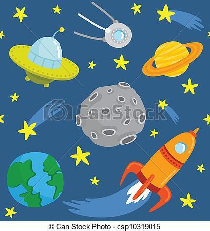 427x470 Seamless Pattern Cartoon Space. Vector Clip Art