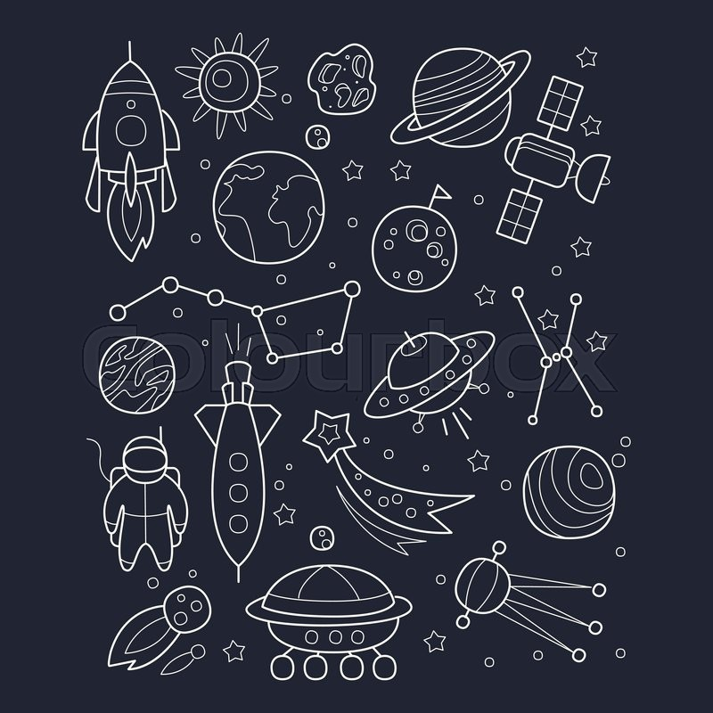 800x800 Space And Cosmic Objects Black And White Wallpaper With Contour