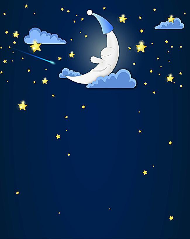 650x815 Vector Cartoon Children Drawing Moon Night Background, Vector