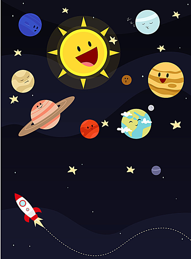 650x882 Vector Cartoon Drawing Of Children Nine Planets Line Background