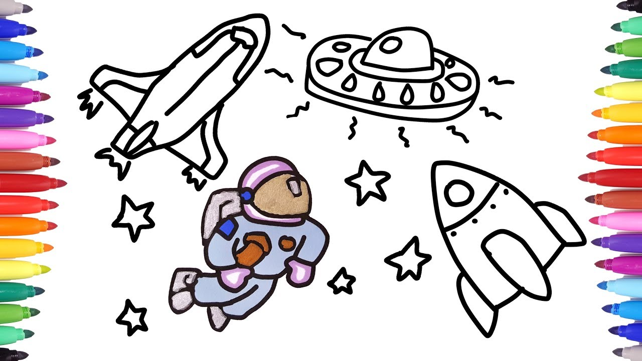 1280x720 How To Draw Astronaut Space Suit Spaceship Ufo Drawing