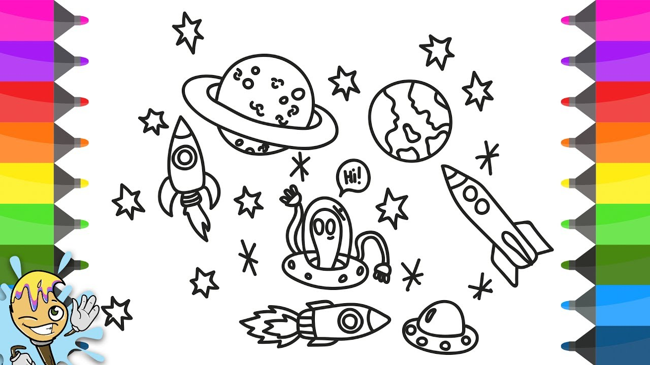 1280x720 How To Draw Space. Coloring Pages Universe. Learning Drawing
