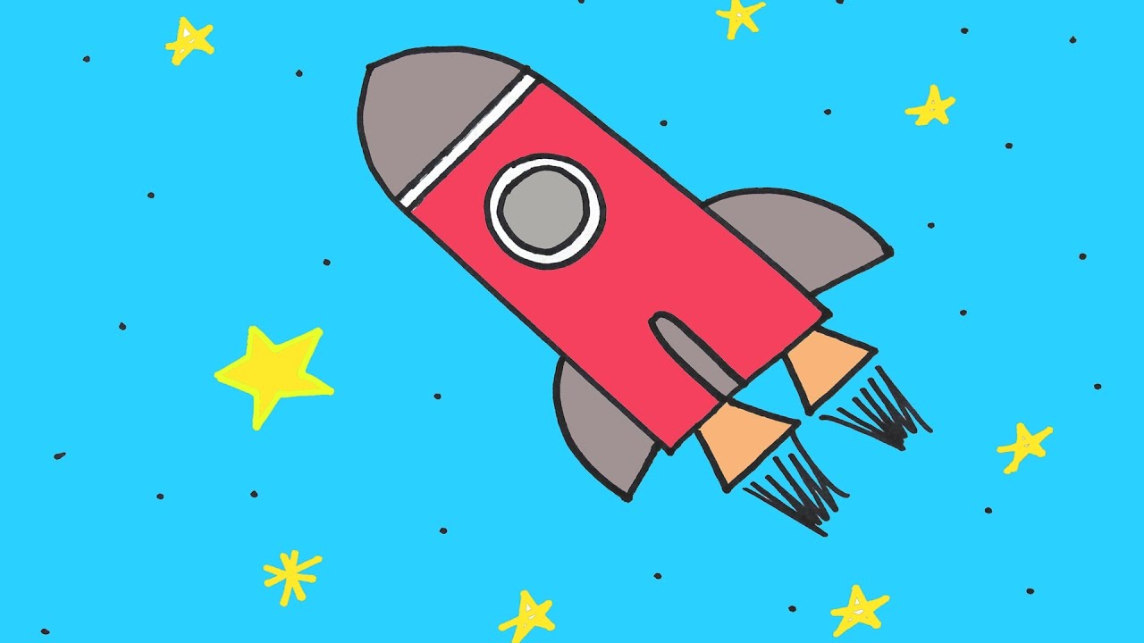 1280x720 How To Draw A Rocket Ship In Space Step By Step Drawing Lesson