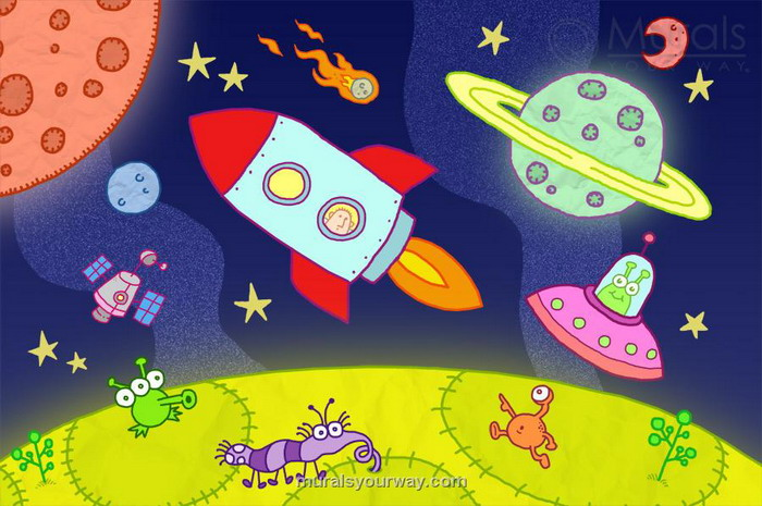 700x465 Space Kids Wall Mural