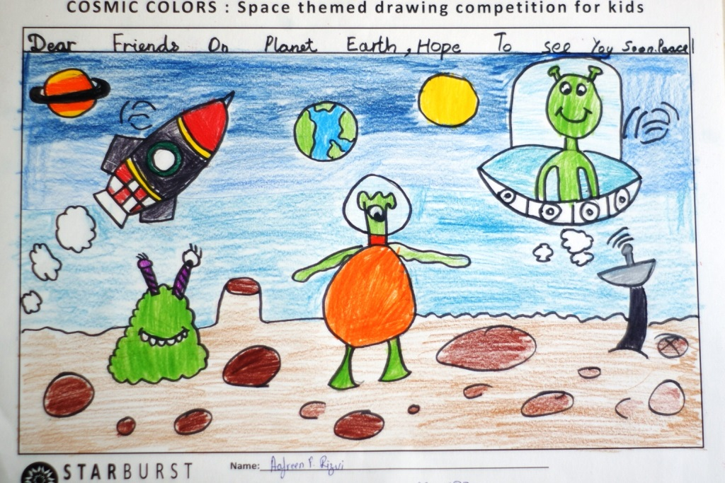 1024x683 Starburst Cosmic Colors All India National Level Space Drawing