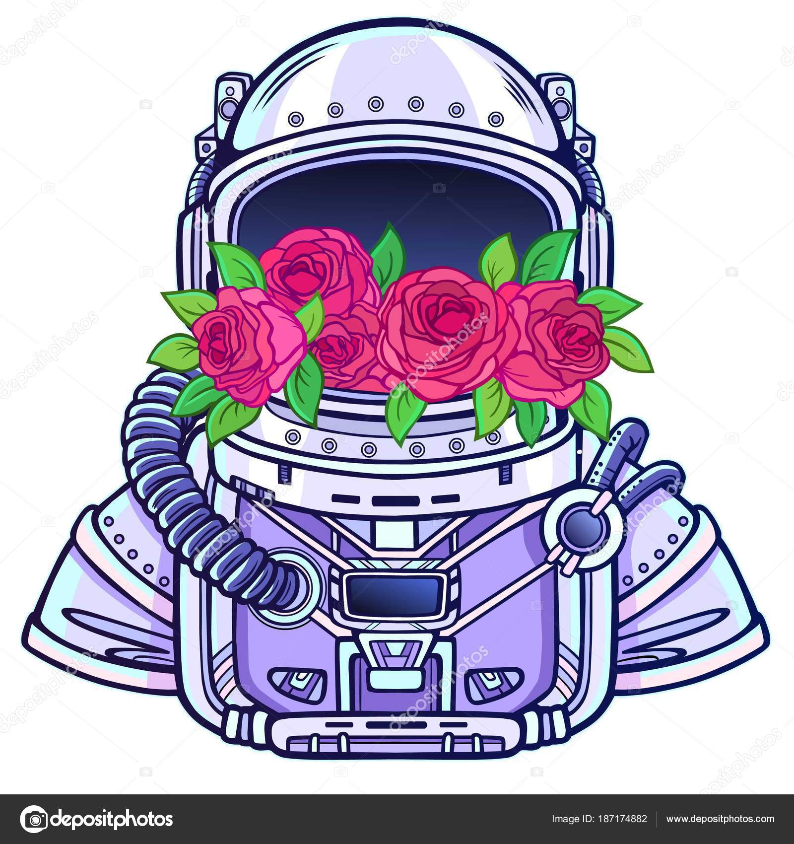 1600x1700 Space Helmet Astronaut Filled Flowers Roses Color Drawing Vector