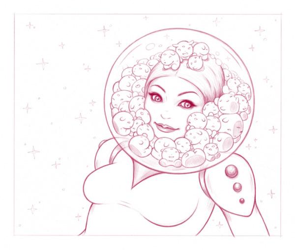 600x509 Tara Mcpherson Art Art Prints Line Art Serigraphs Space Helmet Girl