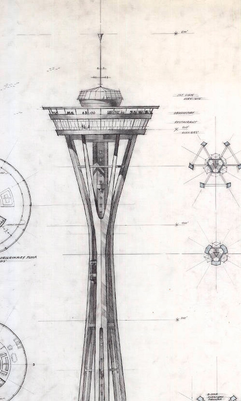 496x827 More Preliminary Designs Of The Space Needle For The 1962 Worlds