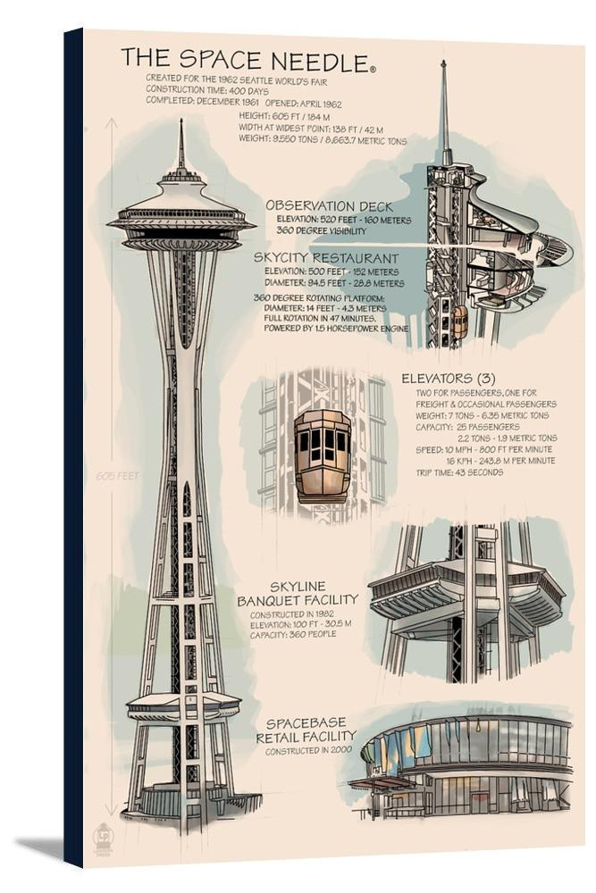 667x1000 Space Needle Technical Drawing (Naturals)