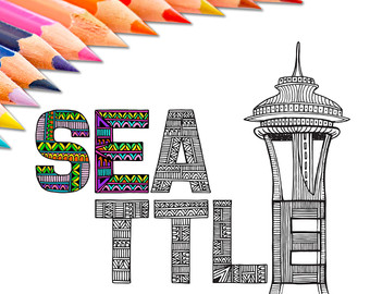 340x270 Space Needle Drawing Etsy