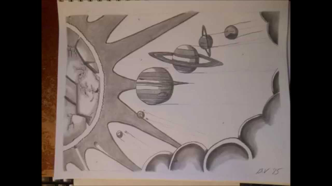 1280x720 Our Solar System (Space Drawing