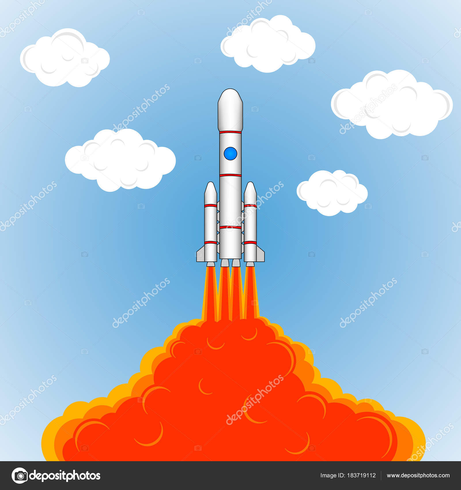 1600x1700 Launch Space Rocket Drawing Rockets Fire Sky Clouds Color Pattern