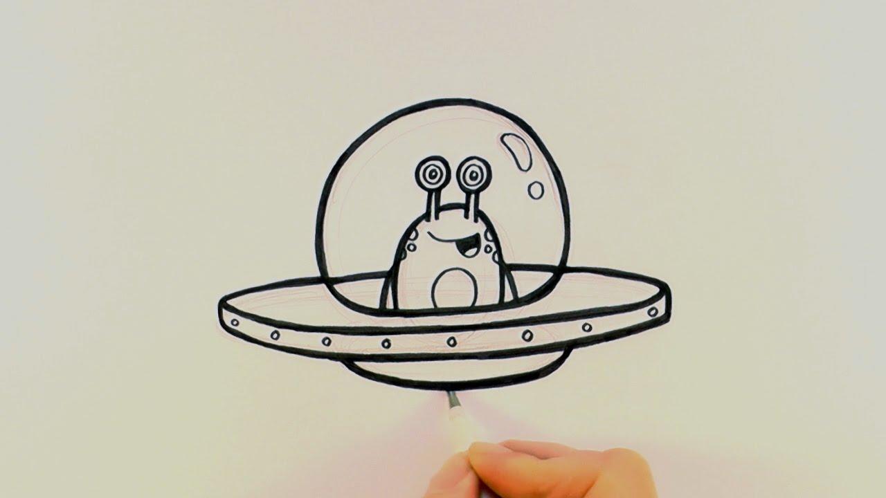 1280x720 How To Draw A Cartoon Alien In A Spaceship