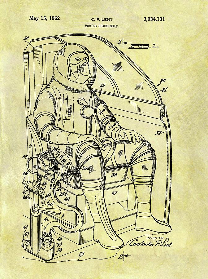672x900 1962 Space Suit Patent Drawing By Dan Sproul