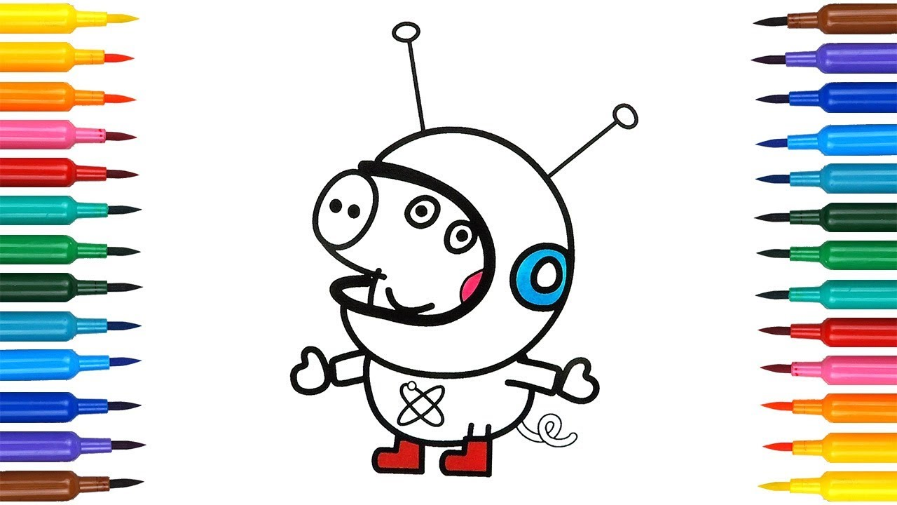 1280x720 How To Draw George In Space Suit Coloring Pages Drawing Peppa