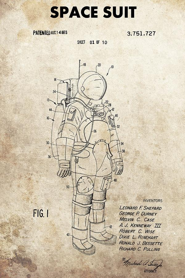 600x900 Vintage Space Suit Patent Drawing By Dan Sproul