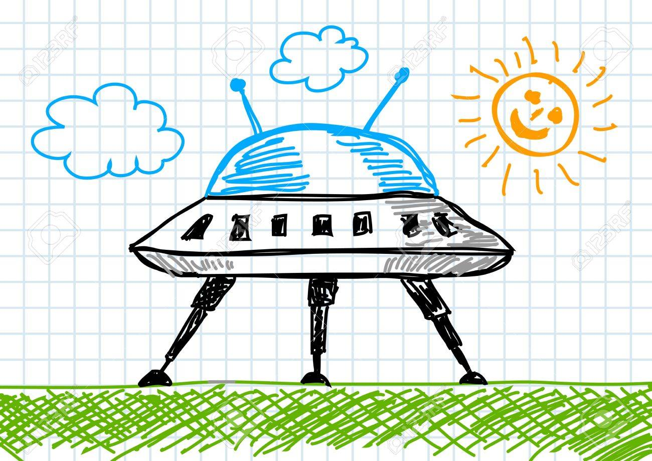 1300x919 Drawing Of Spacecraft Royalty Free Cliparts, Vectors, And Stock