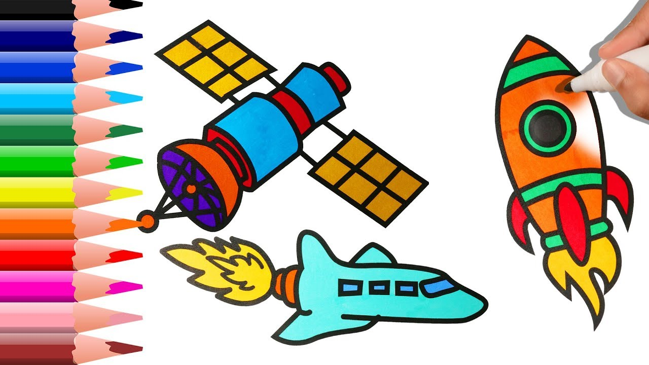 1280x720 How To Draw Airplane, Satellite And Spacecraft Learning For Kids