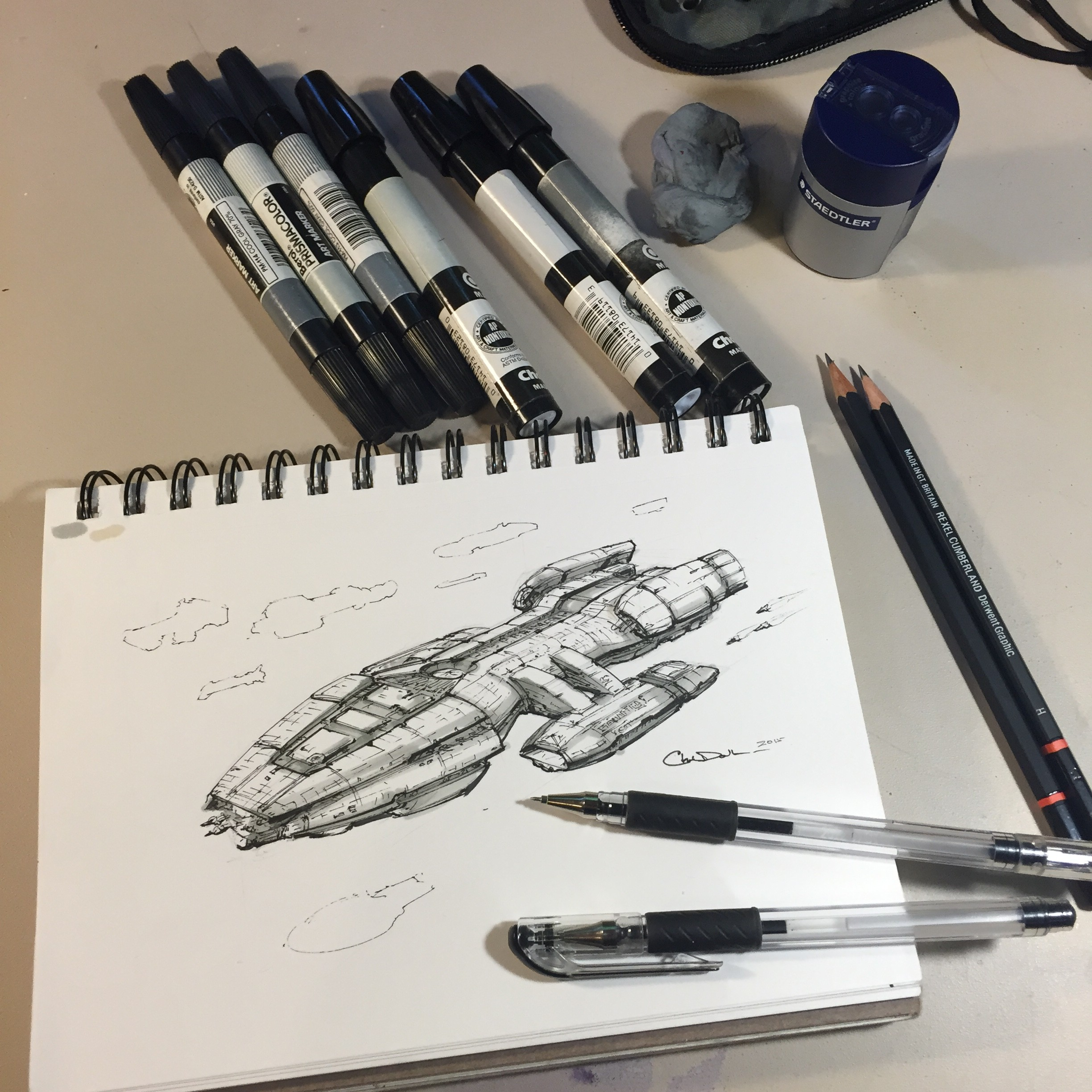 2448x2448 Drawing A Spaceship A Day Space Art By Christopher Doll